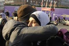 Διαμαρτυρόμενος Nasser μπαμπάδων Ghada στις μητέρες για την ειρήνη Στοκ Φωτογραφία