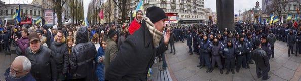 Διαμαρτύρονται ενάντια στην ένωση με τη Ρωσία Πούτιν. Στοκ Εικόνα