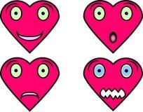 Διαμορφωμένα καρδιά πρόσωπα με τις διαφορετικές εκφράσεις Στοκ Εικόνες