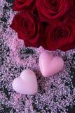 Διαμορφωμένα καρδιά σαπούνια λουτρών Στοκ Εικόνα