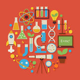 Διαμορφωμένα κύκλος αντικείμενα S σχεδίου επιστήμης και εκπαίδευσης διανυσματικά επίπεδα Στοκ Εικόνα