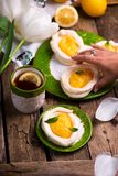 Διαμορφωμένες αυγό φωλιές μαρέγκας με τη στάρπη λεμονιών παραδοσιακές ζύμες Πάσχας στοκ εικόνες με δικαίωμα ελεύθερης χρήσης