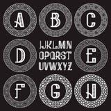Διαμορφωμένη εξάρτηση μονογραμμάτων Άσπρες επιστολές και διακοσμητικά στρογγυλά πλαίσια για τη δημιουργία του αρχικού λογότυπου σ Στοκ φωτογραφία με δικαίωμα ελεύθερης χρήσης