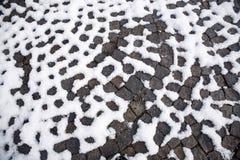 Διαμορφωμένη διάβαση πεζών με το χιόνι Στοκ φωτογραφία με δικαίωμα ελεύθερης χρήσης