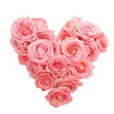 Διαμορφωμένη καρδιά ανθοδέσμη των τριαντάφυλλων που απομονώνονται στο άσπρο υπόβαθρο Τοπ όψη στοκ εικόνες