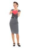 διαμορφωμένη χαμογελώντας γυναίκα βαλεντίνων καρτών καρδιά Στοκ Εικόνες