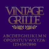 Διαμορφωμένοι δικτυωτό πλέγμα χρυσοί κεφαλαία γράμματα και αριθμοί Στοκ Εικόνες