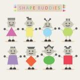 Διαμορφωμένοι φιλαράκοι σωμάτων - σύνολο βασικών διαφορετικών χαριτωμένων χαρακτήρων ελεύθερη απεικόνιση δικαιώματος