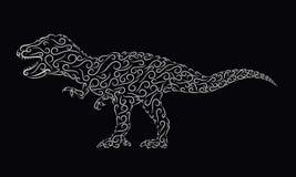 Διαμορφωμένος ασήμι δεινόσαυρος σε ένα μαύρο υπόβαθρο απεικόνιση αποθεμάτων