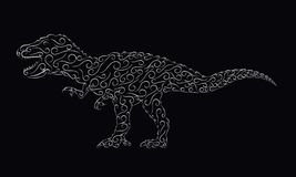 Διαμορφωμένος ασήμι δεινόσαυρος σε ένα μαύρο υπόβαθρο ελεύθερη απεικόνιση δικαιώματος