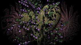 Διαμορφωμένος καρδιά βράχος με τα λουλούδια πέρα από ένα σκοτεινό υπόβαθρο διανυσματική απεικόνιση