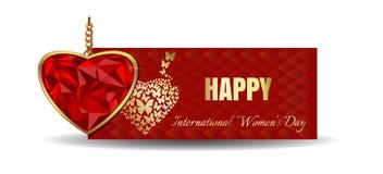 Διαμορφωμένος καρδιά πολύτιμος λίθος που τίθεται στο χρυσό Έμβλημα για την ημέρα των γυναικών Στοκ Εικόνα