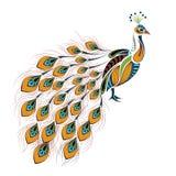 Διαμορφωμένος χρωματισμένος peacock Αφρικανικό/ινδικό/σχέδιο τοτέμ/δερματοστιξιών απεικόνιση αποθεμάτων