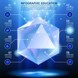 Διαμορφωμένο διαμάντι πρότυπο με τα εικονίδια Ιστού στο μπλε φως Στοκ Εικόνες