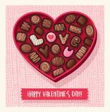 Διαμορφωμένο καρδιά κιβώτιο καραμελών ημέρας βαλεντίνων με τις σοκολάτες διανυσματική απεικόνιση