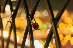 Διαμορφωμένο καρδιά λουκέτο που κλείνουν στο φράκτη στοκ εικόνα