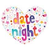 Διαμορφωμένο καρδιά σχέδιο νύχτας ημερομηνίας στοκ εικόνες