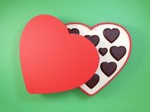 Διαμορφωμένο καρδιά κιβώτιο δώρων που έχει τις σοκολάτες τρισδιάστατος διανυσματική απεικόνιση