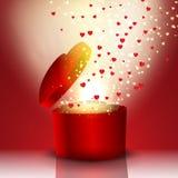 Διαμορφωμένο καρδιά κιβώτιο δώρων απεικόνιση αποθεμάτων