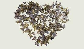 Διαμορφωμένο καρδιά πεταλούδων μπλε abd πτήσης κίτρινο Στοκ Φωτογραφία