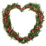 Διαμορφωμένο καρδιά στεφάνι Χριστουγέννων Στοκ Φωτογραφία