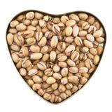 Διαμορφωμένο καρδιά σύνολο κιβωτίων του φυστικιού Στοκ Εικόνες