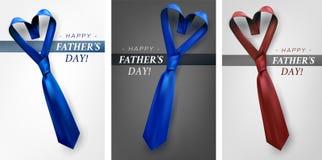 Διαμορφωμένο σύνολο γραβατών ημέρας πατέρων καρδιά Στοκ εικόνα με δικαίωμα ελεύθερης χρήσης