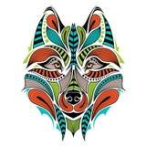 Διαμορφωμένο χρωματισμένο κεφάλι του λύκου Αφρικανικό/ινδικό/σχέδιο τοτέμ/δερματοστιξιών Στοκ εικόνες με δικαίωμα ελεύθερης χρήσης