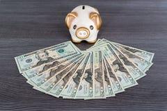 Διαμορφωμένο Piggy κιβώτιο χρημάτων με τα δολάρια Στοκ Εικόνες