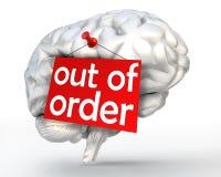 Διανοητικό πρόβλημα από το κόκκινο σημάδι διαταγής στον ανθρώπινο εγκέφαλο Στοκ εικόνα με δικαίωμα ελεύθερης χρήσης