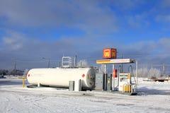 Διανομέας καυσίμων diesel στο πρατήριο καυσίμων Στοκ Εικόνα