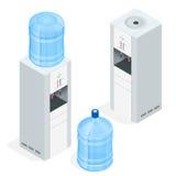 Διανομέας νερού στο άσπρο υπόβαθρο Δοχείο ψύξης νερού για το γραφείο Επίπεδη τρισδιάστατη isometric διανυσματική απεικόνιση Στοκ Εικόνες
