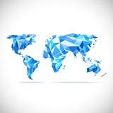 Διανυσμάτων χαμηλός-πολυ μπλε ακρίβειας παγκόσμιων χαρτών polygonal Στοκ Φωτογραφίες