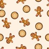 Διανυσματικά άνευ ραφής μπισκότα και muffins σχεδίων Στοκ Φωτογραφία