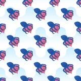 Διανυσματικά άνευ ραφής περικαλύμματα χταποδιών σχεδίων γύρω από την καρδιά Στοκ Εικόνες