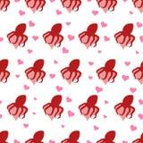 Διανυσματικά άνευ ραφής περικαλύμματα χταποδιών σχεδίων γύρω από την καρδιά Στοκ φωτογραφία με δικαίωμα ελεύθερης χρήσης