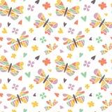 Διανυσματικά άνευ ραφής σχέδια πεταλούδων Στοκ Εικόνες