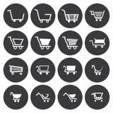 Διανυσματικά άσπρα εικονίδια κάρρων αγορών καθορισμένα Στοκ φωτογραφία με δικαίωμα ελεύθερης χρήσης