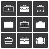 Διανυσματικά άσπρα εικονίδια χαρτοφυλάκων καθορισμένα Στοκ Φωτογραφίες