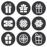 Διανυσματικά άσπρα εικονίδια δώρων καθορισμένα Στοκ Εικόνες