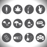 Διανυσματικά άσπρα ποτά και εικονίδια φαρμάκων καθορισμένα Στοκ Φωτογραφίες