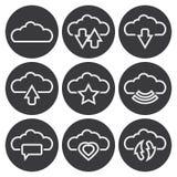 Διανυσματικά άσπρα σύννεφα Ιστός εικονιδίων και κινητός Στοκ Φωτογραφίες