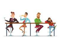 Διανυσματικά άτομα κινούμενων σχεδίων που κάθονται στον πίνακα φραγμών στα διάφορα στάδια της μέθης διανυσματική απεικόνιση