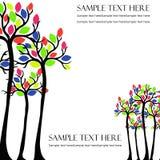 Διανυσματικά δέντρα με τα χρωματισμένα φύλλα Στοκ Φωτογραφίες