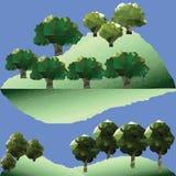 Διανυσματικά δέντρα πολυγώνων στο βουνό Στοκ Εικόνα