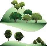Διανυσματικά δέντρα πολυγώνων στο βουνό Στοκ Φωτογραφία