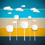 Διανυσματικά δέντρα, σύννεφα στο αναδρομικό υπόβαθρο Διανυσματική απεικόνιση