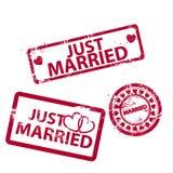 Διανυσματικά ακριβώς παντρεμένα γραμματόσημα Στοκ εικόνα με δικαίωμα ελεύθερης χρήσης