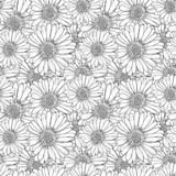 Διανυσματικά αντιαγχωτικά χρωματίζοντας λουλούδια, άνευ ραφής σχέδιο, γραπτό απεικόνιση αποθεμάτων