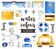 Διανυσματικά αντικείμενα Watercolor στοιχείων ταξιδιού διανυσματική απεικόνιση